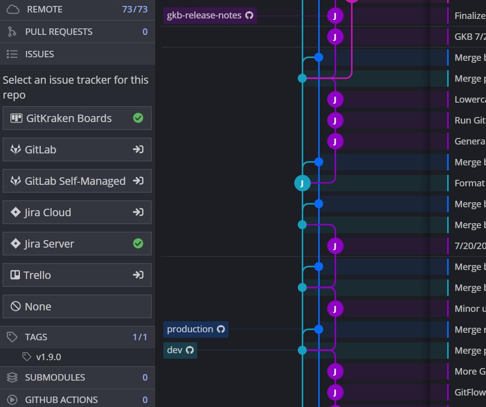 Issue Tracking options in GitKraken